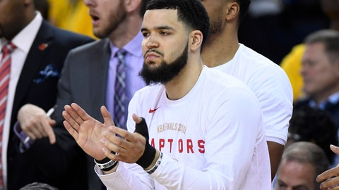 <p>               Toronto Raptors guard Fred VanVleet applauds from the bench after receiving several stitches from an elbow to the face from Golden State Warriors guard Shaun Livingston during the second half of Game 4 of basketball's NBA Finals, Friday, June 7, 2019, in Oakland, Calif. (Frank Gunn/The Canadian Press via AP)             </p>