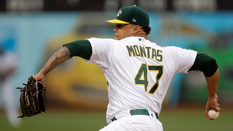 <p>               Oakland Athletics pitcher Frankie Montas works against the Seattle Mariners in the first inning of a baseball game Saturday, June 15, 2019, in Oakland, Calif. (AP Photo/Ben Margot)             </p>
