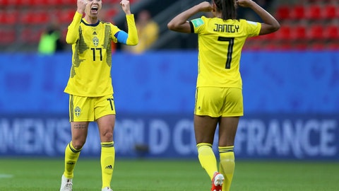 <p>               Sweden's Stina Blackstenius, left, and Sweden's Madelen Janogy, right, celebrate after the Women's World Cup Group F soccer match between Chile and Sweden at the Roazhon Park in Rennes, France, Tuesday, June 11, 2019. (AP Photo/David Vincent)             </p>