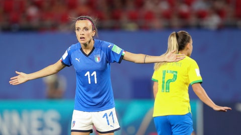 <p>               Italy's Barbara Bonansea reacts during the Women's World Cup Group C soccer match between Italy and Brazil at the Stade du Hainaut in Valenciennes, France, Tuesday, June 18, 2019. (AP Photo/Francisco Seco)             </p>