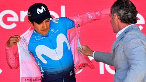 <p>               Ecuador's Richard Carapaz wears the pink jersey of the overall leader after completing the 20th stage of the Giro d'Italia cycling race, from Feltre to Croce d'Aune-Monte Avena, Saturday, June 1, 2019. Ecuadorian cyclist Richard Carapaz took a huge step towards winning the Giro d'Italia as he preserved his overall lead at the end of the penultimate stage, which was won by Pello Bilbao of Spain. (Alessandro Di Meo/ANSA via AP)             </p>