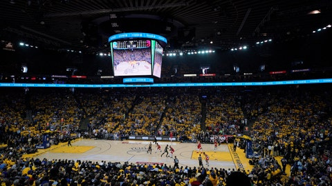 <p>               A general view of Oracle Arena during the first half of Game 4 of basketball's NBA Finals between the Golden State Warriors and the Toronto Raptors in Oakland, Calif., Friday, June 7, 2019. (AP Photo/Tony Avelar)             </p>
