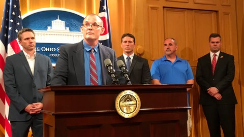 <p>               Roger Beedon discusses how sexual misconduct by now-deceased Ohio State team doctor Richard Strauss has affected his life, during a news conference with fellow Strauss accusers, from left, Brian Garrett, Dan Ritchie and Mike Flusche, and state Rep. Brett Hillyer, Tuesday, June 4, 2019, at the Statehouse in Columbus, Ohio. They were speaking in support of a bill that would give Strauss accusers a legal opportunity to sue the university over the alleged abuse decades ago. (AP Photo/Kantele Franko)             </p>