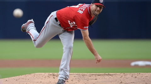 <p>               Washington Nationals starting pitcher Max Scherzer throws to a San Diego Padres batter during the first inning of a baseball game Saturday, June 8, 2019, in San Diego. (AP Photo/Orlando Ramirez)             </p>