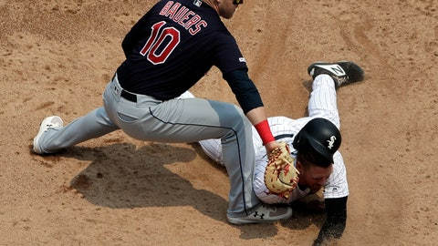 <p>               Chicago White Sox's Charlie Tilson, right, is tagged out at first base by Cleveland Indians first baseman Jake Bauers on a pick-off during the third inning of a baseball game in Chicago, Saturday, June 1, 2019. (AP Photo/Nam Y. Huh)             </p>