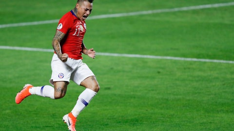 <p>               Chile's Eduardo Vargas celebrates scoring his side's 4th goal during a Copa America Group C soccer match against Japan at the Morumbi stadium in Sao Paulo, Brazil, Monday, June 17, 2019. (AP Photo/Nelson Antoine)             </p>