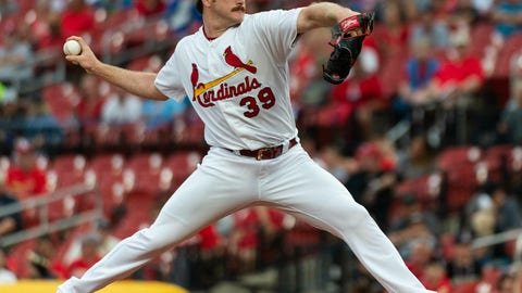 <p>               St. Louis Cardinal starting pitcher Mile Mikolas throws during the first inning of a baseball game against the Miami Marlins, Monday, June 17, 2019, in St. Louis. (AP Photo/L.G. Patterson)             </p>