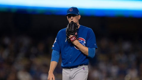 <p>               Chicago Cubs starting pitcher Kyle Hendricks walks off the field after being removed from the baseball game against the Los Angeles Dodgers during the fifth inning in Los Angeles, Friday, June 14, 2019. (AP Photo/Kyusung Gong)             </p>
