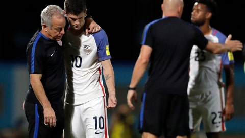 <p>               FILE - In this Oct. 10, 2017, file photo, United States' Christian Pulisic, (10) is comforted by assistant coach Dave Sarachan after losing 2-1 against Trinidad and Tobago during a 2018 World Cup qualifying soccer match in Couva, Trinidad. It's been nearly two years since U.S. men's soccer team was dealt a devastating kick in the gut, an improbable loss that dropped an entire program to its knees. On Saturday, June 22, 2019, the Americans can get some payback. (AP Photo/Rebecca Blackwell, File)             </p>