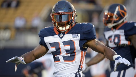 <p>               FILE - In this March 16, 2019, file photo, Orlando Apollos defensive back Mark Myers Jr. (23) warms up before an AAF football game against the Arizona Hotshots Saturday,, in Orlando, Fla.  The New York Jets on Thursday, June 13, 2019, have signed Myers and waived safety John Battle. (AP Photo/Phelan M. Ebenhack, File)             </p>