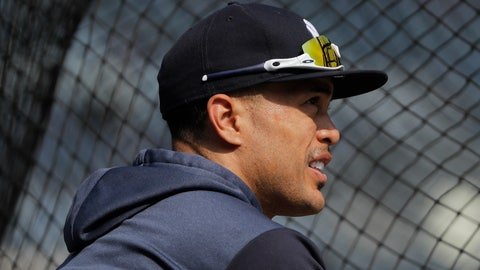<p>               FILE - In this Saturday, March 30, 2019, file photo, New York Yankees right fielder Giancarlo Stanton watches batting practice before a baseball game against the Baltimore Orioles, in New York. Stanton is set to come off the injured list for a game against the Rays. Stanton has been sidelined since March 31 with biceps, shoulder and calf injuries, but seemed ready for a return during a minor league rehab start with four homers in five games. (AP Photo/Julie Jacobson, File)             </p>