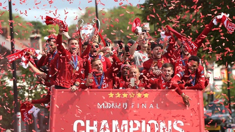 <p>               Liverpool soccer team ride an open top bus during the Champions League Cup Winners Parade through the streets of Liverpool, England, Sunday June 2, 2019.  Liverpool is champion of Europe for a sixth time after beating Tottenham 2-0 in the Champions League final played in Madrid Saturday. (Barrington Coombs/PA via AP)             </p>