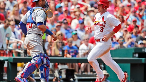 <p>               St. Louis Cardinals' Jedd Gyorko (3) scores past Chicago Cubs catcher Willson Contreras during the fifth inning of a baseball game Sunday, June 2, 2019, in St. Louis. (AP Photo/Jeff Roberson)             </p>