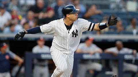 <p>               New York Yankees' Gary Sanchez drops his bat after hitting a two-run home run during the third inning of a baseball game against the Houston Astros, Friday, June 21, 2019, in New York. (AP Photo/Kathy Willens)             </p>