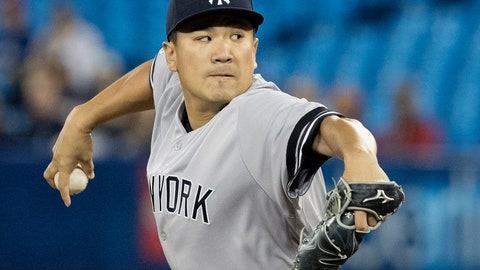<p>               New York Yankees starting pitcher Masahiro Tanaka throws to a Toronto Blue Jays batter during the first inning of a baseball game in Toronto on Tuesday, June 4, 2019. (Fred Thornhill/The Canadian Press via AP)             </p>