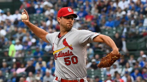 <p>               St. Louis Cardinals starting pitcher Adam Wainwright delivers during the first inning of a baseball game against the Chicago Cubs, Sunday, June 9, 2019, in Chicago. (AP Photo/Matt Marton)             </p>