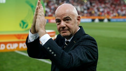 <p>               FIFA President Gianni Infantino claps hands on the pitch after the final match between Ukraine and South Korea at the U20 soccer World Cup in Lodz, Poland, Saturday, June 15, 2019. (AP Photo/Darko Vojinovic)             </p>