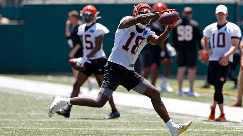<p>               Cincinnati Bengals wide receiver AJ Green (18) catches a pass during an NFL football minicamp Tuesday, June 11, 2019, in Cincinnati. (AP Photo/Gary Landers)             </p>