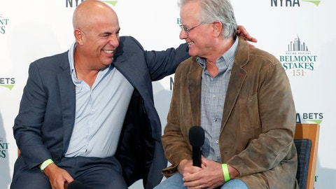 <p>               Mark Casse, left, War of Will's trainer, shares a laugh with Bill Mott, Tacitus' trainer, as they they joined Todd Pletcher and Dale Romans in a press conference following a draw ceremony for the 2019 Belmont Stakes race, Tuesday, June 4, 2019, in New York. (AP Photo/Kathy Willens)             </p>