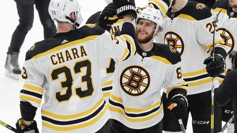 <p>               Boston Bruins defenseman Zdeno Chara (33), of Slovakia, celebrates with right wing David Pastrnak (88), of the Czech Republic, after the Bruins beat the St. Louis Blues in Game 6 of the NHL hockey Stanley Cup Final Sunday, June 9, 2019, in St. Louis. Both players scored goals as the Bruins won 5-1 to even the series 3-3. (AP Photo/Jeff Roberson)             </p>
