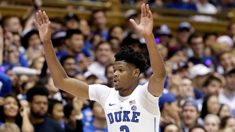 <p>               FILE - In this Nov. 11, 2018 file photo Duke's Cam Reddish reacts following a basket against Army during the first half of an NCAA college basketball game in Durham, N.C. Texas Tech's Jarrett Culver and Duke's Cam Reddish are headlining the list of shooting guards in the NBA draft.  Reddish offers two-way potential, though an uneven freshman year has created some uncertainty about his development. (AP Photo/Gerry Broome, file)             </p>