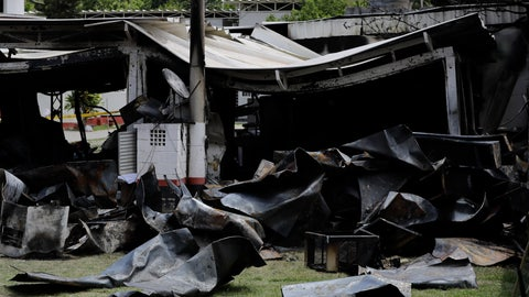 <p>               FILE - In this Feb. 8, 2019 file photo, debris from a deadly fire at the Flamengo soccer club training complex litters the ground in Rio de Janeiro, Brazil. An investigators' report of the case obtained by The Associated Press on June 11, 2019 shows the former president of Brazilian soccer club, Eduardo Bandeira de Mello, and seven others were charged for the fire. (AP Photo/Leo Correa, File)             </p>