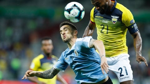 <p>               Uruguay's Matias Vecino, left, and Ecuador's Gabriel Achilier, compete for the ball during a Copa America Group C soccer match at the Mineirao stadium in Belo Horizonte, Brazil, Sunday, June 16, 2019. (AP Photo/Victor R. Caivano)             </p>
