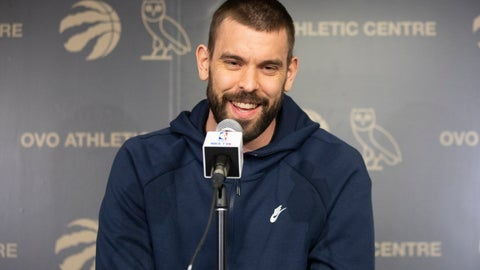 <p>               Toronto Raptors' Marc Gasol takes questions from the media during an NBA basketball news conference following their NBA Championship win, in Toronto, Sunday, June 16, 2019. (Chris Young/The Canadian Press via AP)             </p>