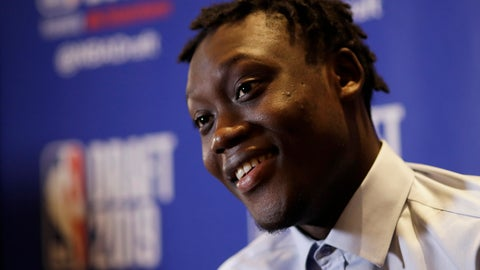 <p>               Sekou Doumbouya, of France, attends the NBA Draft basketball media availability, Wednesday, June 19, 201,9 in New York. The draft will be held Thursday, June 20. (AP Photo/Mark Lennihan)             </p>