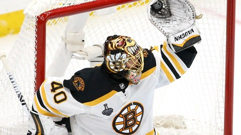 <p>               Boston Bruins goaltender Tuukka Rask, of Finland, gloves a shot against the St. Louis Blues during the second period of Game 6 of the NHL hockey Stanley Cup Final Sunday, June 9, 2019, in St. Louis. (AP Photo/Scott Kane)             </p>