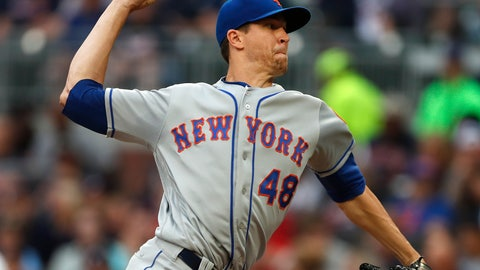 <p>               New York Mets starting pitcher Jacob deGrom (48) works in the first inning of a baseball game against the Atlanta Braves Tuesday, June 18, 2019, in Atlanta. (AP Photo/John Bazemore)             </p>