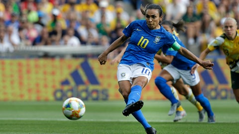<p>               Brazil's Marta shoots a penalty kick to score the opening goal during the Women's World Cup Group C soccer match between Australia and Brazil at Stade de la Mosson in Montpellier, France, Thursday, June 13, 2019. (AP Photo/Claude Paris)             </p>