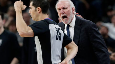 <p>               FILE - In this March 16, 2019, file photo, San Antonio Spurs head coach Gregg Popovich, right, argues a call with referee Steve Anderson (35) during the first half of an NBA basketball game against the Portland Trail Blazers, in San Antonio. It's likely NBA coaches will be challenging one call per game next season. The league told teams Friday, June 28, 2019, that, pending expected approval by the board of governors on July 9, coaches may challenge a personal foul charged to their team, a called out-of-bounds violation, a goaltending violation or a basket-interference violation. No other call may be challenged. (AP Photo/Eric Gay, File)             </p>