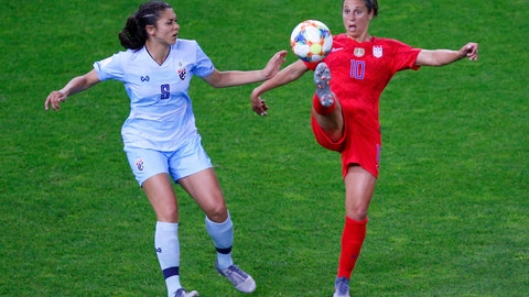 <p>               United States' Carli Lloyd attempts to control the ball as Thailand's Miranda Nild , left, watches during the Women's World Cup Group F soccer match between the United States and Thailand at the Stade Auguste-Delaune in Reims, France, Tuesday, June 11, 2019. (AP Photo/Francois Mori)             </p>