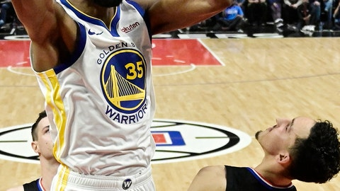 <p>               FILE - In this April 21, 2019, file photo, Golden State Warriors forward Kevin Durant, top, dunks as Los Angeles Clippers guard Landry Shamet defends during the second half in Game 4 of a first-round NBA basketball playoff series in Los Angeles. Rarely relevant at the same time on the basketball court, the Knicks and Nets are front and center in the free agency race, two of the teams best positioned to make a splash when the market opens. Both can afford two top players, with hopes of landing not only a Kevin Durant or Kyrie Irving, but possibly even both. (AP Photo/Mark J. Terrill, File)             </p>