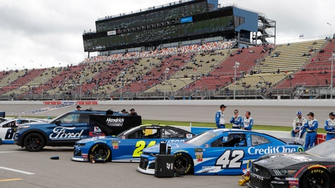<p>               Cars are lined up before a NASCAR cup series auto race at Michigan International Speedway, Monday, June 10, 2019, in Brooklyn, Mich. (AP Photo/Carlos Osorio)             </p>
