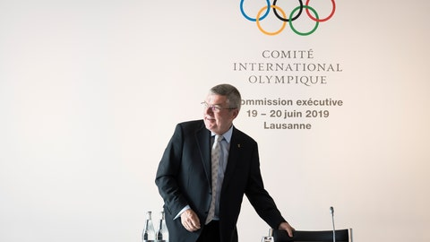 <p>               International Olympic Committee, IOC, President Thomas Bach from Germany, reacts prior to the opening of the International Olympic Committee, IOC, executive board meeting in Lausanne, Switzerland, Wednesday, June 19, 2019. (Jean-Christophe Bott/Keystone via AP)             </p>