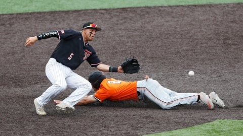 <p>               Oklahoma State's Christian Funk (2) slides into second base around Texas Tech's Brian Klein (5) during the first inning in Game 3 of an NCAA college baseball super regional tournament Sunday, June 9, 2019, in Lubbock, Texas. (AP Photo/Brad Tollefson)             </p>