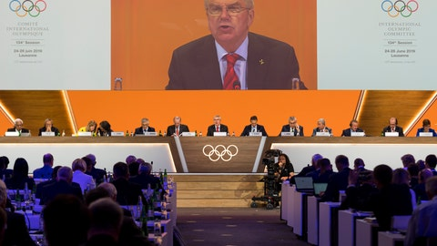 <p>               International Olympic Committee, IOC, President Thomas Bach from Germany speaks during the 134th Session of the International Olympic Committee (IOC), at the SwissTech Convention Centre, in Lausanne, Switzerland, Tuesday, June 25, 2019. (Jean-Christophe Bott/Keystone via AP)             </p>