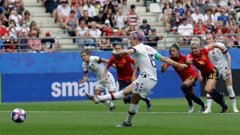 <p>               United States'Megan Rapinoe scores a scores the opening goal from a penalty spot during the Women's World Cup round of 16 soccer match between Spain and US at the Stade Auguste-Delaune in Reims, France, Monday, June 24, 2019. (AP Photo/Alessandra Tarantino)             </p>