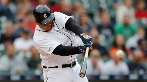 <p>               Detroit Tigers designated hitter Miguel Cabrera connects for a single during the first inning of the team's baseball game against the Tampa Bay Rays, Tuesday, June 4, 2019, in Detroit. The single tied him at 59th with Tony Perez with 2,732 career hits. (AP Photo/Carlos Osorio)             </p>