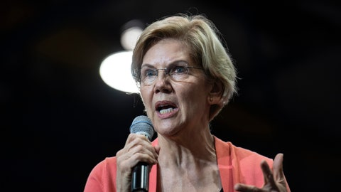 <p>               Democratic presidential candidate Sen. Elizabeth Warren holds a town hall on the Florida International University campus on Tuesday, June 25, 2019, in Miami. (Jennifer King/Miami Herald via AP)             </p>