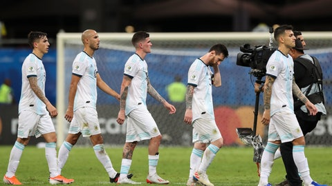 <p>               Argentina's Lionel Messi, second right, walks out of the pitch with teammates at the end of a Copa America Group B soccer match against Argentina at the Arena Fonte Nova in Salvador, Brazil, Saturday, June 15, 2019. Colombia won 2-0. (AP Photo/Ricardo Mazalan)             </p>