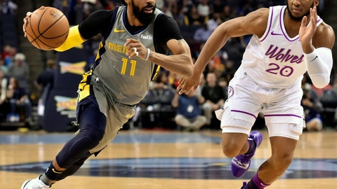 <p>               FILE - In this March 23, 2019, file photo, Memphis Grizzlies guard Mike Conley (11) handles the ball against Minnesota Timberwolves guard Josh Okogie (20) in the first half of an NBA basketball game, in Memphis, Tenn. A person with knowledge of the decision says the Memphis Grizzlies have traded veteran point guard Mike Conley, who has played the most games in franchise history, to the Utah Jazz. The person says the Grizzlies swapped Conley for Jae Crowder, Kyle Korver and Grayson Allen. The person spoke to The Associated Press Wednesday, June 19, 2019, on condition of anonymity because neither Memphis nor Utah has announced the trade.(AP Photo/Brandon Dill, File)             </p>