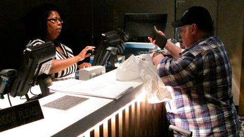 <p>               In this June 27, 2019 photo, a clerk takes a bet from a gambler at the new sportsbook at Bally's casino in Atlantic City, N.J. New Jersey surpassed Nevada in terms of sports betting volume in May, taking the national lead for the first time. (AP Photo/Wayne Parry)             </p>