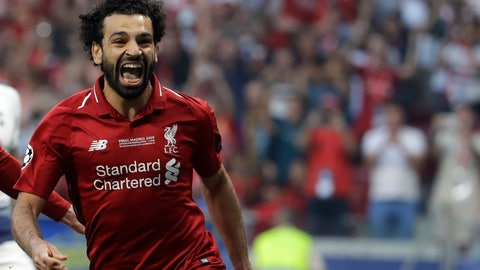 <p>               Liverpool's Mohamed Salah celebrates after scoring his side's opening goal during the Champions League final soccer match between Tottenham Hotspur and Liverpool at the Wanda Metropolitano Stadium in Madrid, Saturday, June 1, 2019. (AP Photo/Felipe Dana)             </p>