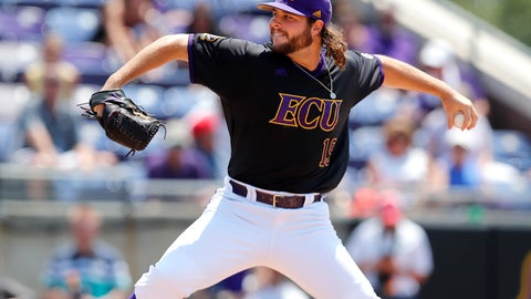 <p>               East Carolina's Alec Burleson pitches against Campbell in an NCAA college baseball tournament regional game in Greenville, N.C., Monday, June 3, 2019. (Ethan Hyman/The News & Observer via AP)             </p>