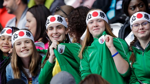 <p>               Young fans wearing Japanese flag hair ribbons sit on the stand prior the start of the Women's World Cup Group D soccer match between Argentina and Japan at the Parc des Princes in Paris, Monday, June 10, 2019. (AP Photo/Alessandra Tarantino)             </p>