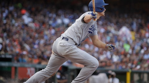 <p>               Los Angeles Dodgers' Corey Seager watches his RBI double off San Francisco Giants' Jeff Samardzija during the fifth inning of a baseball game Saturday, June 8, 2019, in San Francisco. (AP Photo/Ben Margot)             </p>