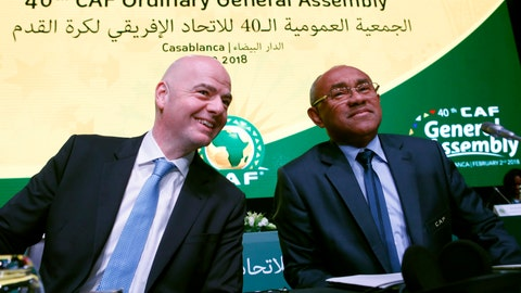 <p>               FILE - In this Feb. 2, 2018 file photo, Confederation of African Football president Ahmad Ahmad of Madagascar, right, and FIFA president Gianni Infantino attend the opening of the Confederation of African Football general assembly in Casablanca, Morocco. FIFA vice president Ahmad was detained by French authorities on Thursday June 6, 2019 in the latest criminal investigation to hit soccer's governing body. (AP Photo/Abdeljalil Bounhar, File)             </p>